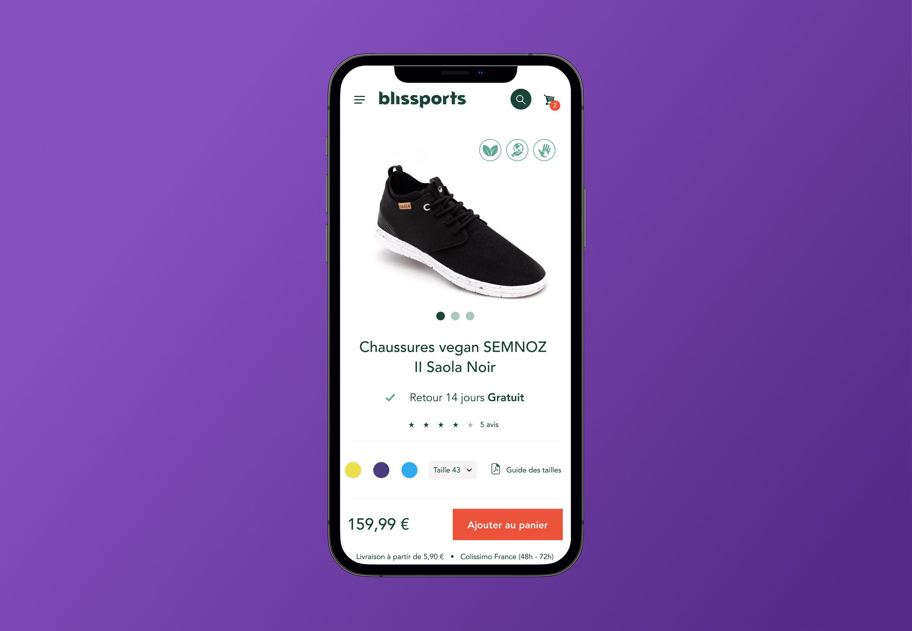 Page mobile de Blissports